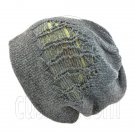 Warm Double Layer Wooly Slouchy Beanie Hat w/ Striped Pattern (DARK GRAY green)# 51673