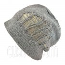 Warm Double Layer Wooly Slouchy Beanie Hat w/ Striped Pattern (GRAY beige)# 51674