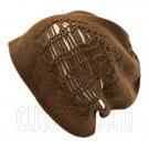 Warm Double Layer Wooly Slouchy Beanie Hat w/ Striped Pattern (DARK BROWN WHITE)# 51675