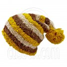 Unisex Striped Soft Slouchy Beanie Hat Christmas Party Crown (YELLOW brown beige)# 51692