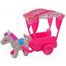 Pink Carriage with Horse 1/6 for Barbie Kelly Doll's House Dollhouse Miniature #12547