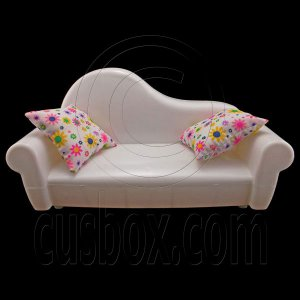 Set White 2-Seate Sofa 2 x Cushion 1/6 Barbie Doll's House Dollhouse Furniture #12597