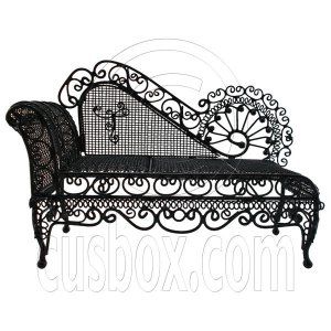Black Wire Chaise Longue Long Sleeper Sofa 1:12 Doll's House Dollhouse Furniture #12335