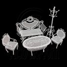 Set White Sofa Chair Table Hat Rack 1/12 Doll's House Dollhouse Furniture 5pcs #12516