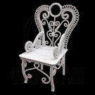 White Wire Queen Ann Coffee Cafe Arm Chair 1/12 Doll's House Dollhouse Furniture #12523
