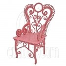 Pink Wire Queen Ann Coffee Cafe Arm Chair 1/12 Doll's House Dollhouse Furniture #12524