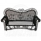 Black Wire Long 3 Seater Sleeper Sofa Bed 1/12 Doll's House Dollhouse Furniture #12541