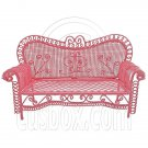Pink Wire Long 3 Seater Sleeper Sofa Bed 1/12 Doll's House Dollhouse Furniture #12554