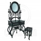 Black Wire Vanity Mirror Chair New Set 1/12 Doll's House Dollhouse Furniture MIB #12580