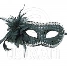 Black Adult Floral Beads Mardi Gras Venetian Masquerade Face Eye Mask Halloween #12557