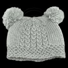 Warm Plain Wooly Beanie w/ Two Small Top Lovely Poms (GRAY) #51729
