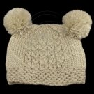 Warm Plain Wooly Beanie w/ Two Small Top Lovely Poms (LIGHT BROWN) #51730