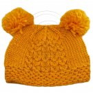 Warm Plain Wooly Beanie w/ Two Small Top Lovely Poms (YELLOW) #51734