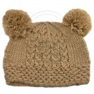 Warm Plain Wooly Beanie w/ Two Small Top Lovely Poms (BROWN) #51735
