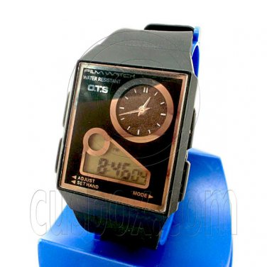 OTS Digital Film Watch with Analog Panel (BLACK w/ black display) #51748