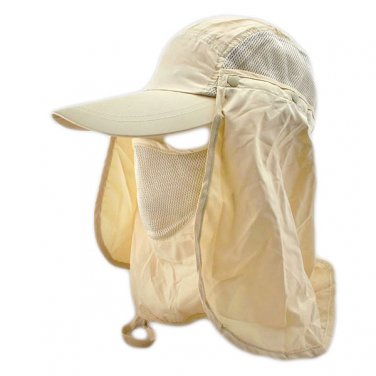 Long Neck Flap /w Face Mask Mesh Cap Hat Fishing Hiking (KHAKI) #51760