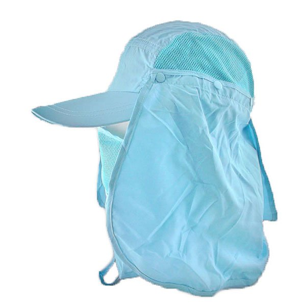 Long Neck Flap /w Face Mask Mesh Cap Hat Fishing Hiking (AQUA BLUE) #51766