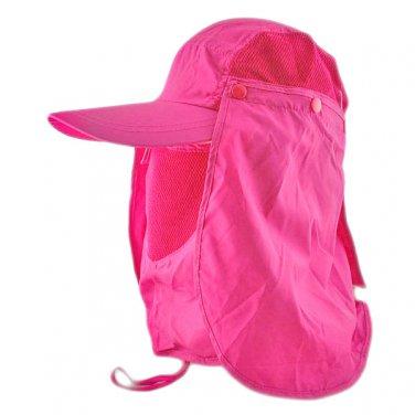 Long Neck Flap /w Face Mask Mesh Cap Hat Fishing Hiking (PURPLE PINK) #51770