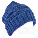 Plain Beanie with Mini Stripe Pattern Unisex Winter Hat BLUE #51787
