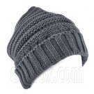 Plain Beanie with Mini Stripe Pattern Unisex Winter Hat DARK GRAY #51788