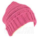 Plain Beanie with Mini Stripe Pattern Unisex Winter Hat HOT PINK #51789