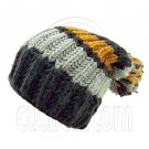 Warm Wooly Slouchy Beanie Hat w/ Thick Color Striped (BLACK) #51802