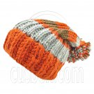 Warm Wooly Slouchy Beanie Hat w/ Thick Color Striped (ORANGE) #51806
