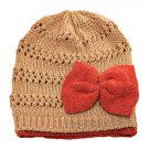 Warm Double Layer Wooly Slouchy Beanie Hat w/ Butterfly (LIGHT BROWN) #51812