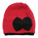 Warm Double Layer Wooly Slouchy Beanie Hat w/ Butterfly (RED) #51815