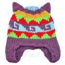 Warm Lovely Ears Earflaps Wooly Beanie Hat w/ Jacquard Pattern (PURPLE) #51821