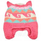 Warm Lovely Ears Earflaps Wooly Beanie Hat w/ Jacquard Pattern (PINK) #51823