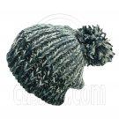 Warm Thick Top Pom Slouchy Wooly Beanie Hat w/ Jacquard Pattern (BLACK) #51825