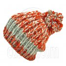 Warm Thick Top Pom Slouchy Wooly Beanie Hat w/ Jacquard Pattern (ORANGE) #51827