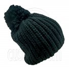 Warm Thick Top Pom Slouchy Wooly Beanie Hat w/ Plain Color (BLACK) #51830