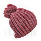 Warm Thick Top Pom Slouchy Wooly Beanie Hat w/ Plain Color (BURGUNDY RED) #51832
