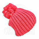 Warm Thick Top Pom Slouchy Wooly Beanie Hat w/ Plain Color (HOT PINK) #51833
