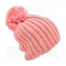 Warm Thick Top Pom Slouchy Wooly Beanie Hat w/ Plain Color (PINK) #51834