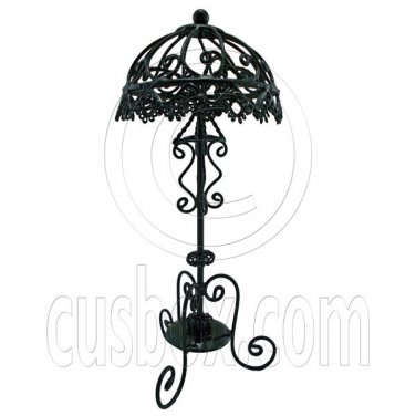 Black Victoria Wire Floor Lamp Light Decor 1:12 Doll's House Dollhouse Miniature #12619