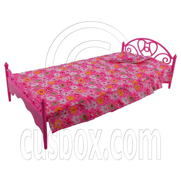 Pink Pillow Bedsheet Bed 1:6 for Barbie Monster High Doll's Dollhouse Furniture #12683
