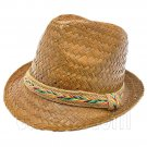 Unisex's Natural Woven Straw Hat w/ Rainbow Code Band #51854