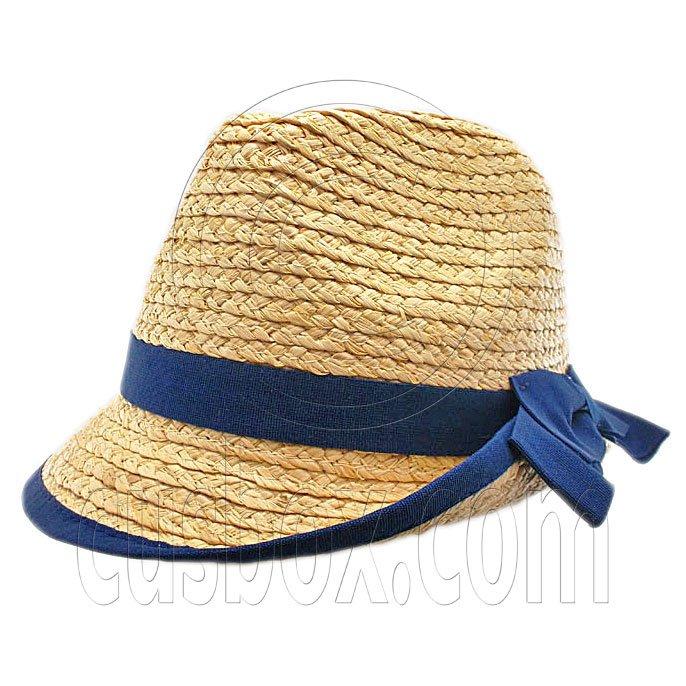Ladies' Natural Raffia Straw Hat w/ Blue Band Bow #51856