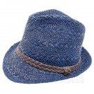 Mens' Two Woven Pattern Fedora Straw Hat w/ Brown Band (Dark Blue) #51857