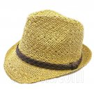 Mens' Two Woven Pattern Fedora Straw Hat w/ Brown Band (Khaki) #51859