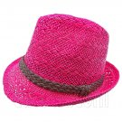 Mens' Two Woven Pattern Fedora Straw Hat w/ Brown Band (Hot Pink) #51861