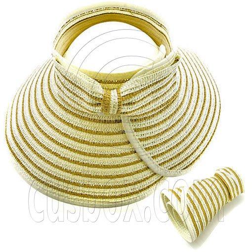 Ladies' Foldable Straw Hat Brown Stripes w/ Bow #51862