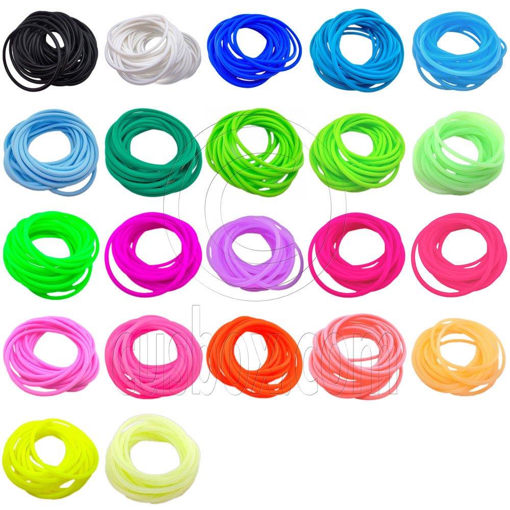 22 pcs Colorful Silicone Elastic Bracelet Black Pink Blue Green Fluorescent #51863