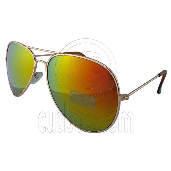 Designer Aviator Anti-Reflective Sunglasses UV400 Full Sunset Mirror Gold Frame #12976