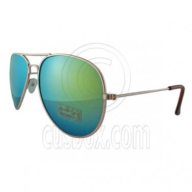 Designer Aviator Anti-Reflective Sunglasses UV400 Full Blue Mirror Gold Frame #12977