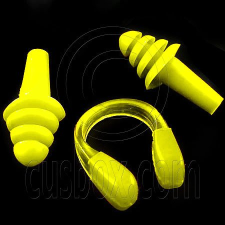 Swimming Nose Clip and Ear Plug Earplug (YELLOW) #51901