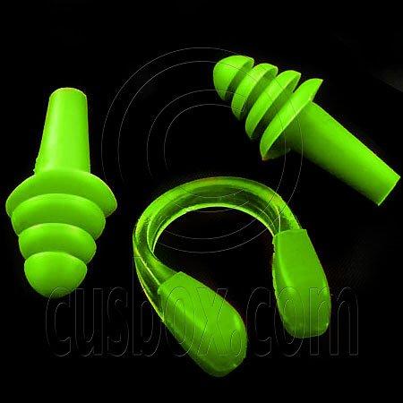 Swimming Nose Clip and Ear Plug Earplug (GREEN) #51903